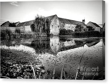 Old Farm And Pond In France Canvas Print by Olivier Le Queinec