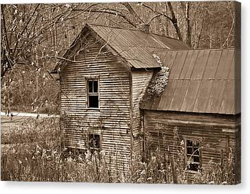 Old Farm House In Sepia 6 Canvas Print