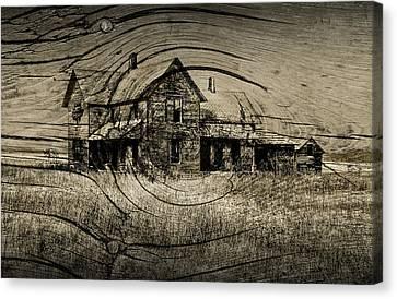 Sepia Vintage Farmhouse Canvas Print - Old Farm House With Wood Grain Overlay by Randall Nyhof