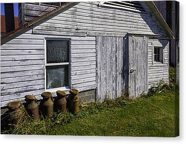 Old Farm Milk Cans Canvas Print by Garry Gay