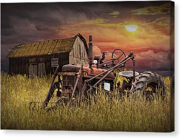 Old Farmall Tractor With Barn For Sale Canvas Print by Randall Nyhof