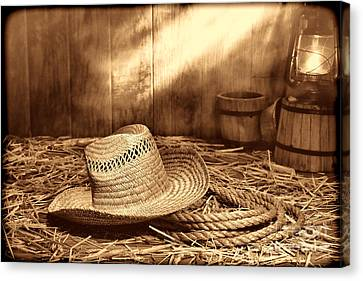 Old Farmer Hat And Rope Canvas Print by American West Legend By Olivier Le Queinec