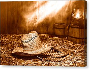 Old Farmer Hat And Rope - Sepia Canvas Print by Olivier Le Queinec