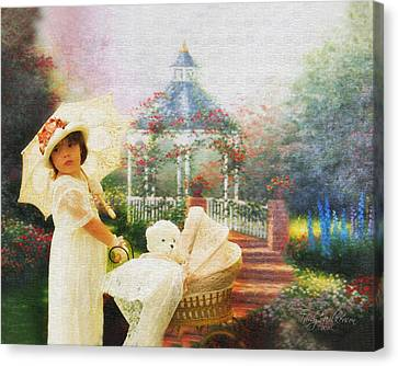 Old Fashion Child Strolling Canvas Print by Trudy Wilkerson