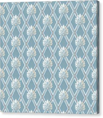 Canvas Print featuring the digital art Old Fashioned Blue Lattice Fan Wallpaper Pattern by Tracie Kaska