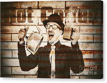 Old Fashioned Gent Cheering To Hot Coffee Canvas Print