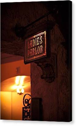 Old Fashioned Ladies Parlor Sign Canvas Print by Carolyn Marshall