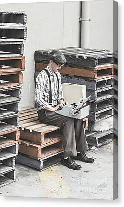 Pallet Canvas Print - Old Fashioned Male Journalist Writing News Report by Jorgo Photography - Wall Art Gallery