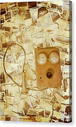 Old-fashioned Phone Set On Polaroid Photos Canvas Print by Jorgo Photography - Wall Art Gallery