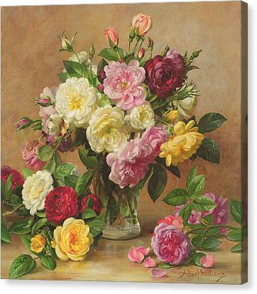 Old Fashioned Victorian Roses Canvas Print by Albert Williams