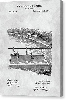 Water Vessels Canvas Print - Old Ferryboat Patent by Dan Sproul