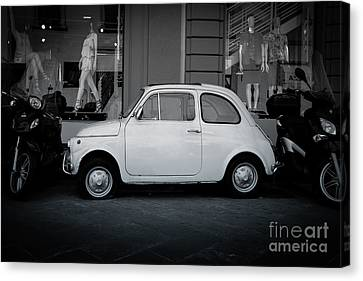 Old Fiat On The Streets Of Florence Canvas Print by Edward Fielding