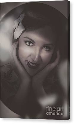 Old Film Noir Photo On The Face Of A 1920s Lady Canvas Print