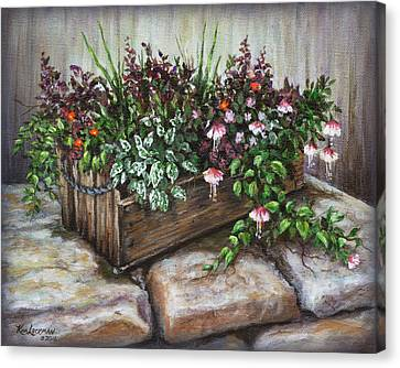 Canvas Print featuring the painting Old Flower Box by Kim Lockman