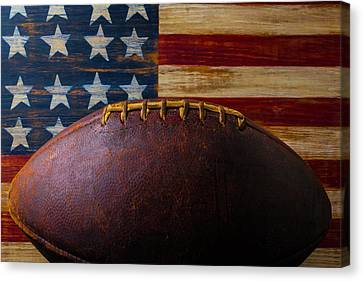 Old Football And Wood Flag Canvas Print by Garry Gay