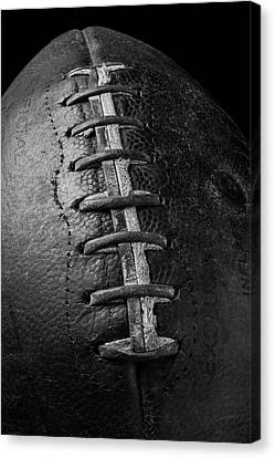 Old Football In Black And White Canvas Print by Garry Gay