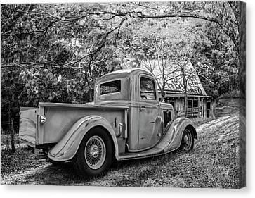 Old Ford At The Farm In Black And White Canvas Print by Debra and Dave Vanderlaan