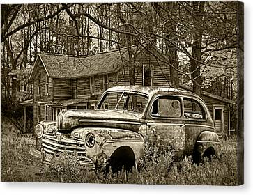 Sepia Vintage Farmhouse Canvas Print - Old Ford Coupe In Sepia Tone by Randall Nyhof
