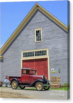 Old Ford Model A Pickup In Front Barn Canvas Print