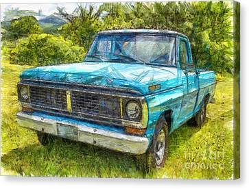 Old Ford Pick Up Truck Pencil Canvas Print