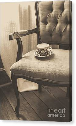 Old Friend China Tea Up On Chair Canvas Print by Edward Fielding