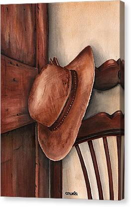 Canvas Print featuring the painting Old Garden Hat by Angela Armano