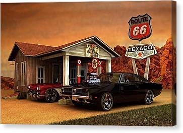 Canvas Print featuring the photograph Old Gas Station American Muscle by Louis Ferreira