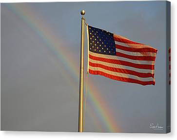 Old Glory And Rainbow Canvas Print