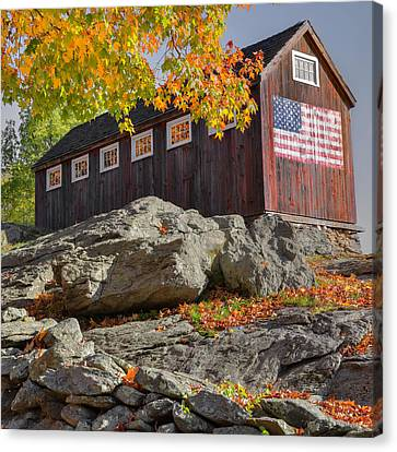 Old Glory Autumn Square Canvas Print by Bill Wakeley