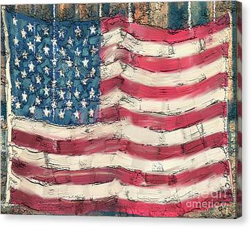 Canvas Print featuring the painting Old Glory by Carrie Joy Byrnes