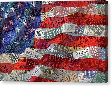 Wavy Canvas Print - Old Glory In Recycled Vintage License Plates by Design Turnpike