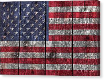Old Glory On Wood Canvas Print by Bruce Stanfield