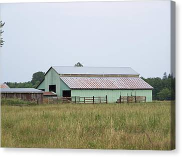 Old Green Barn    Washington State Canvas Print by Laurie Kidd