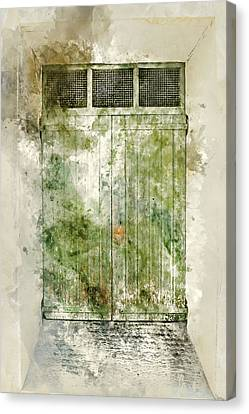 Old Green Door In France Canvas Print by Brandon Bourdages