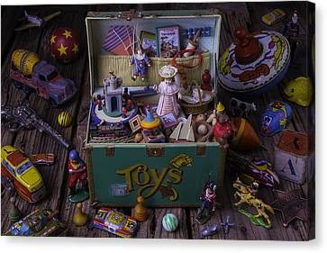 Old Green Toy Box Canvas Print by Garry Gay