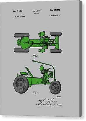 Farm Fields Canvas Print - Old Green Tractor Patent by Dan Sproul