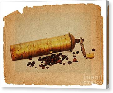 Old Grinder And Beans Canvas Print by Michal Boubin