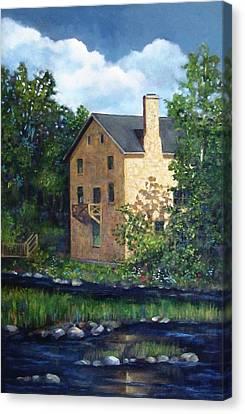 Old Grist Mill In Canada Canvas Print by Joyce Geleynse