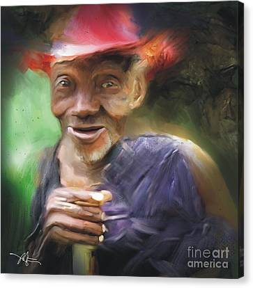 Old Haitian Field Worker Canvas Print by Bob Salo