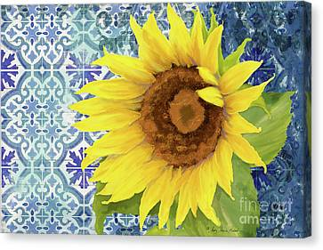 Canvas Print featuring the painting Old Havana Sunflower - Cobalt Blue Tile Painted Over Wood by Audrey Jeanne Roberts
