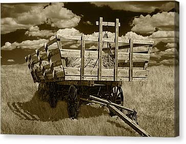 Old Hay Wagon In Sepia Canvas Print