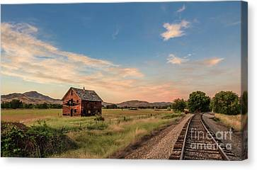 Haybales Canvas Print -  Old Homestead And The Train Tracks by Robert Bales