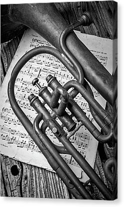 Old Horn And Sheet Music Canvas Print by Garry Gay