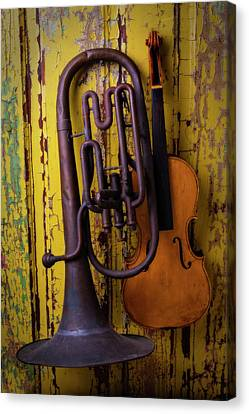 Old Horn And Violin Canvas Print