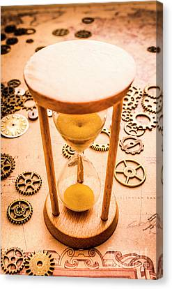 Equipment Canvas Print - Old Hourglass Near Clock Gears On Old Map by Jorgo Photography - Wall Art Gallery