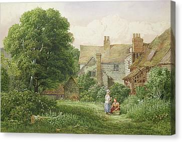 Old House At Hendon  Canvas Print by Bernard Walter Evans
