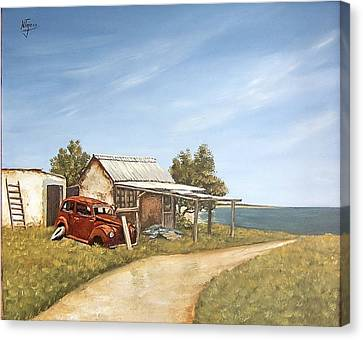 Old House By The Sea Canvas Print by Natalia Tejera