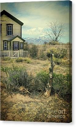 Old House Near Mountians Canvas Print by Jill Battaglia