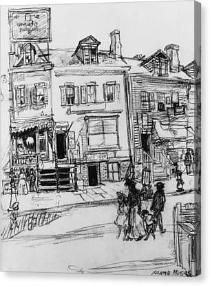 Old Houses, Clinton Street, New York Canvas Print by Jerome Myers