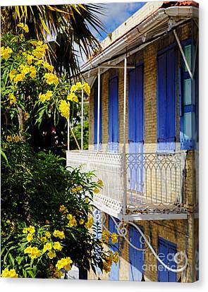 Old House With A Balcony In Charlotte Amalie Canvas Print by George Oze